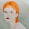 Rotschopf, Mädchen, Portrait, Malerei