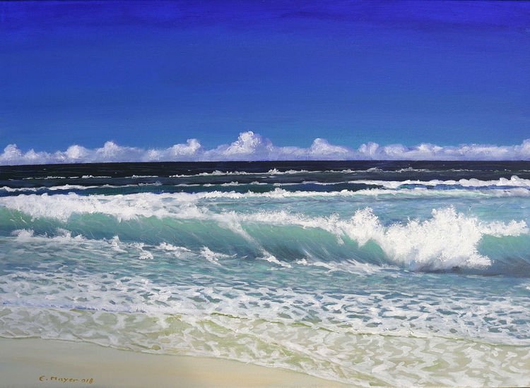 Brandung, Sonne, Strand, Meer, Welle, Malerei