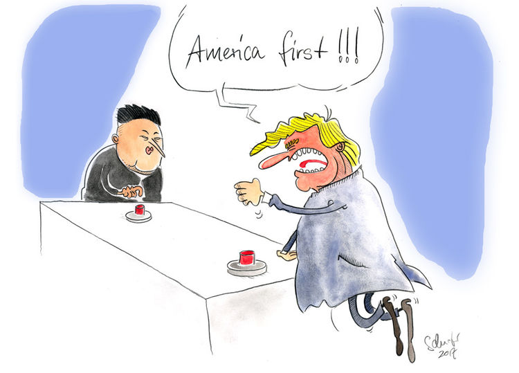 Cartoon, Nordkorea, Trump, Karikatur, Zeichnungen,