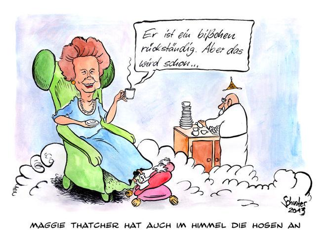 Karikatur, England, Cartoon, Thatcher, Himmel, Zeichnungen