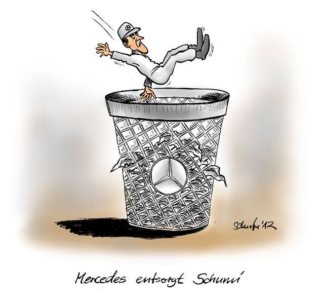 Karikatur, Formel 1, Cartoon, Schumacher, Mercedes, Zeichnungen