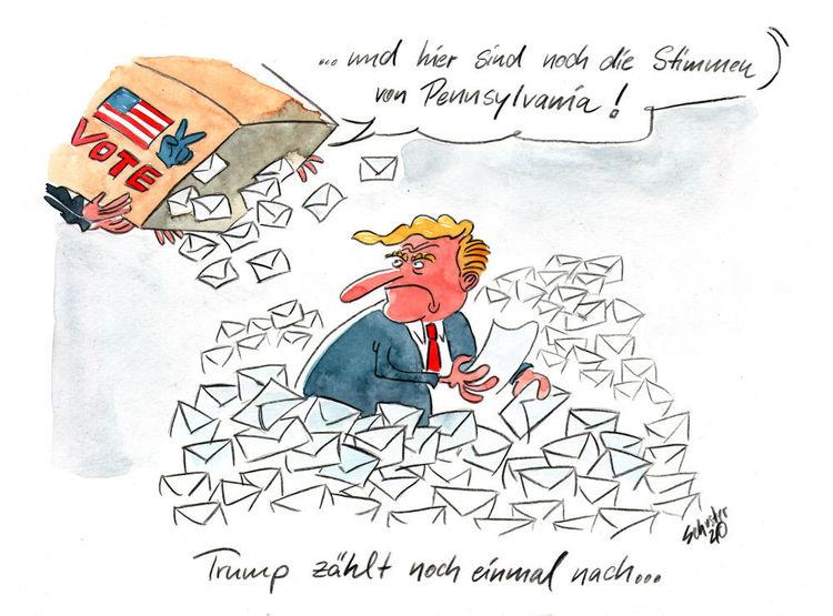 Cartoon, Wahl, Karikatur, Politik, Usa, Trump