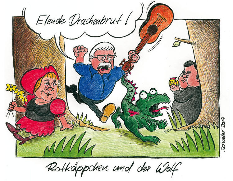 Karikatur, Bundestag, Cartoon, Gysi, Angela merkel, Wolf