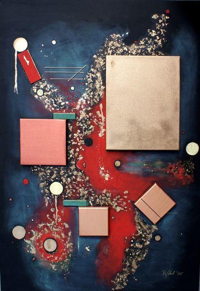 Rot, Kupfer, Quadrat, Acrylmalerei, Gold, Rechteck