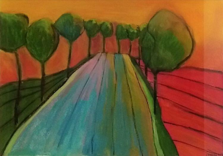 Weg, Baum, Grün, Zeichnungen