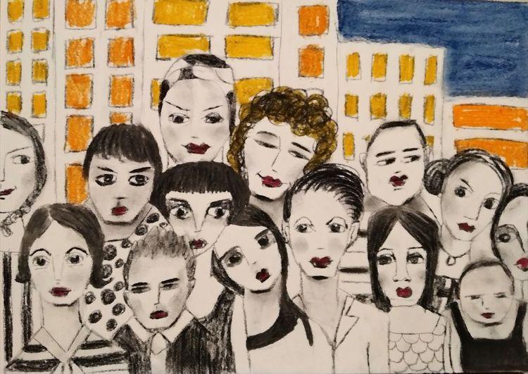 Nacht, Menschen, Stadt, Zeichnungen, Studie