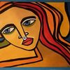 Acrylmalerei, Rot, Schwarz, Malerei