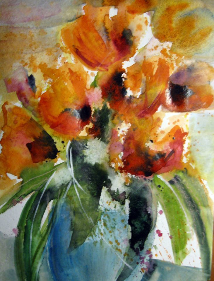 bild aquarell pflanzen farbenspiel tulpen von kerstin. Black Bedroom Furniture Sets. Home Design Ideas