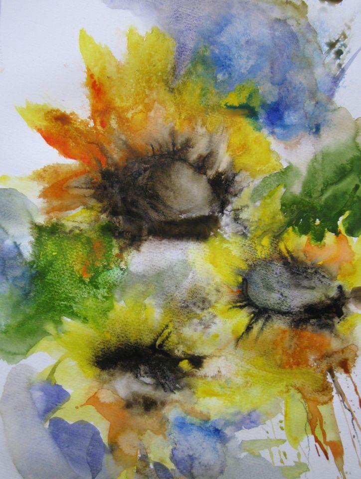 bild malerei pflanzen sonnenblumen von kerstin sigwart. Black Bedroom Furniture Sets. Home Design Ideas