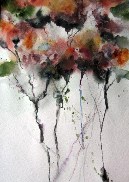 Aquarellmalerei, Nass, Blumen, Aquarell, Hecke
