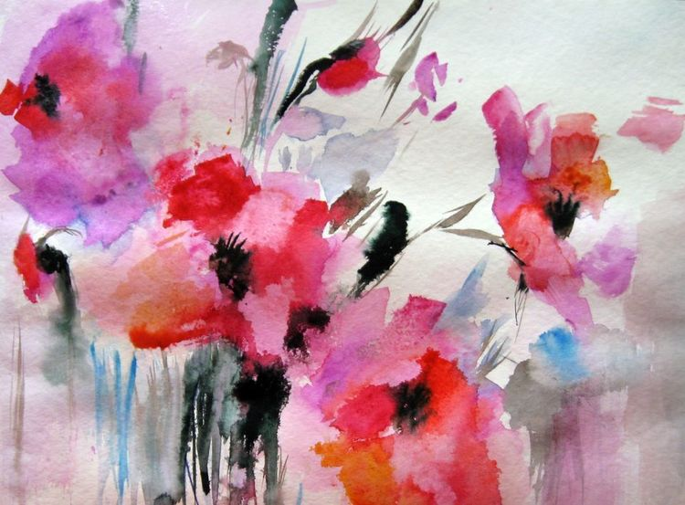 Naß in naß, Aquarellmalerei, Blumen, Aquarell, Wind, Sommerblumen
