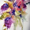 Blumen, Spachtel, Aquarellmalerei, Schicht