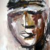 Mischtechnik, Menschen, Gesicht, Malerei