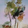 Nass, Schicht, Aquarellmalerei, Landschaft