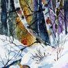 Baum, Aquarellmalerei, Landschaft, Nass