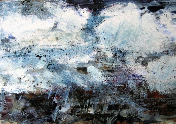 Aquarellmalerei, Landschaft, Nass, Abstrakt, Aquarell, Wetter