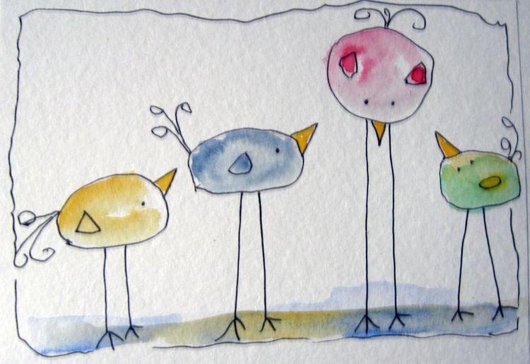 Aquarellmalerei, Skizze, Tiere, Aquarell, Start, Warten