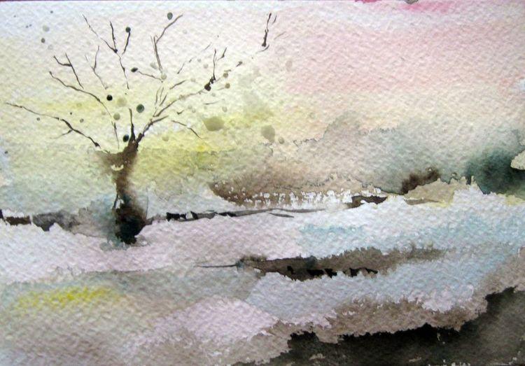 Baum, Nass, Landschaft, Aquarell