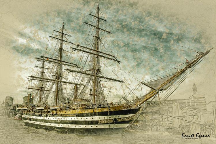 Schiff, Landungsbrücken, Segelschiff, Technik, Hamburg, Verkehr