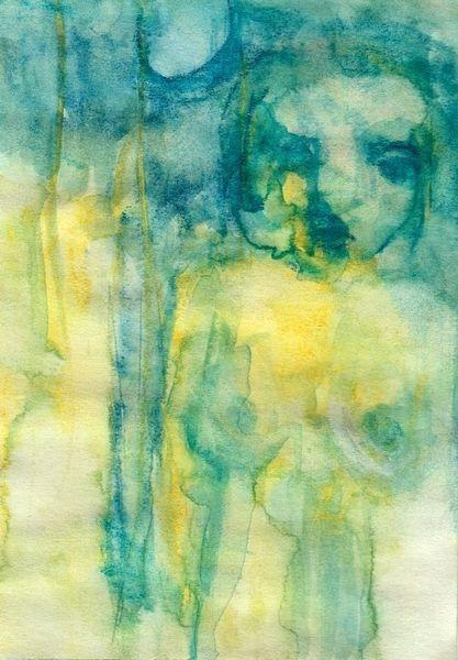 Surreal, Abstrakt, Figural, Gelb, Aquarell