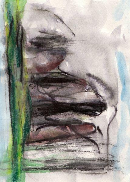 Braun, Surreal, Abstrakt, Grün, Malerei, Landschaft