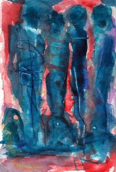 Rot, Surreal, Blau, Figural, Abstrakt, Aquarell