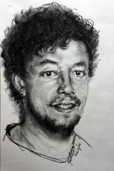 Kopf, Zeichenkohle, Menschen, Radieren, Viktringer künstlerkreis, Selbstportrait