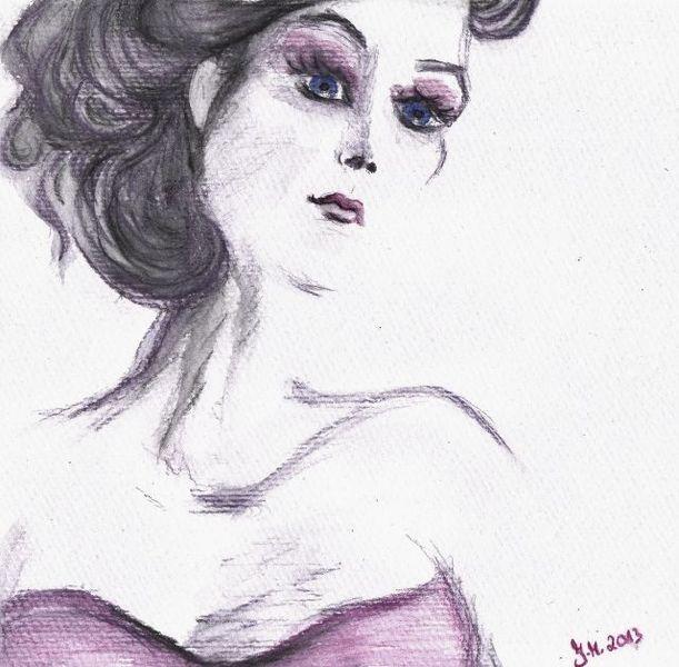 Grau, Aquarellmalerei, Pink, Portrait, Elegant, Zeitgenössisch