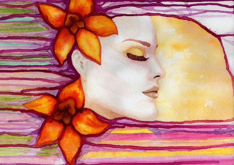 Blüte, Portrait, Frauenportrait, Blumen, Gesicht, Schön