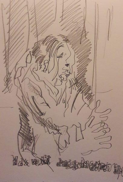Mann, Hände, Schrei, Zeichnungen
