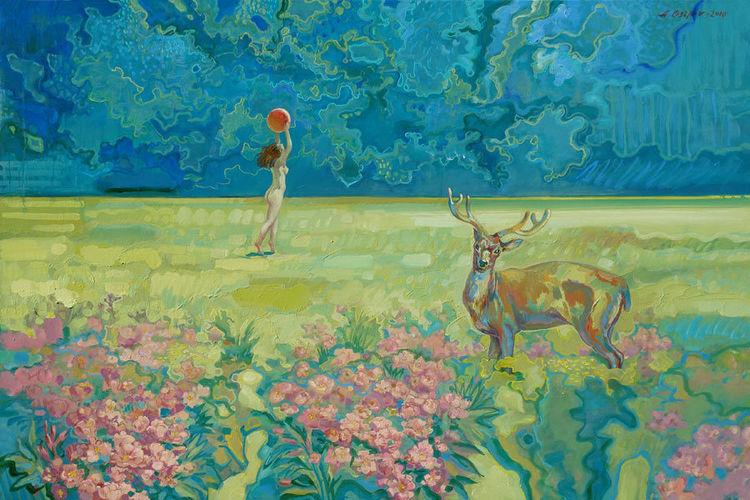 Realismus, Frau, Ölmalerei, Malerei, Figural, Akt