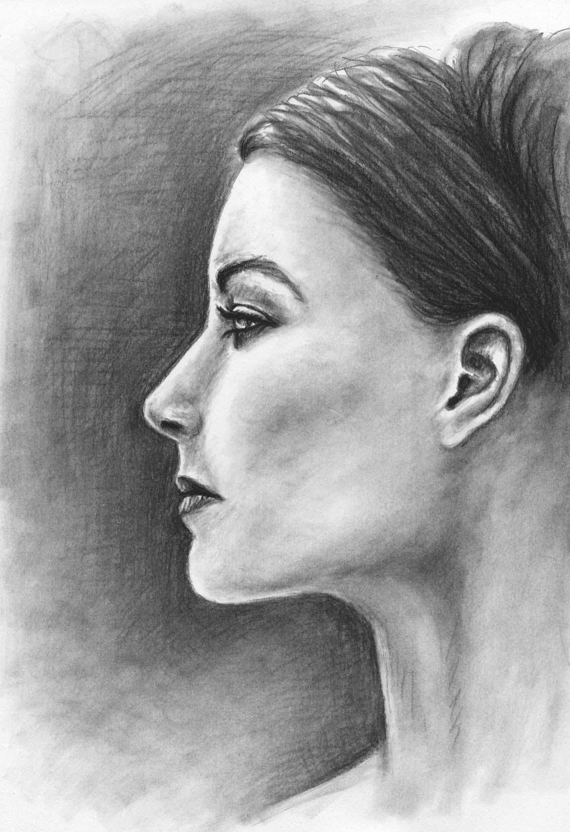 Frauenprofil Frau Portrait Gesicht Kohlezeichnung Von Nicole