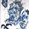 Rabe, Blau, Gesicht, Zeichnungen