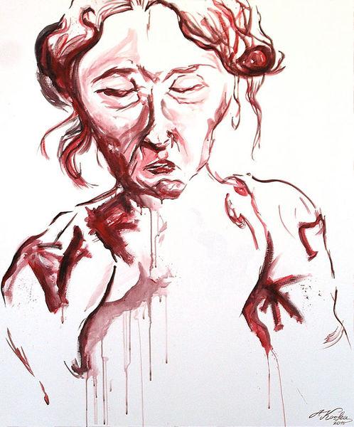 Rot, Weiß, Kalt, Frau, Malerei