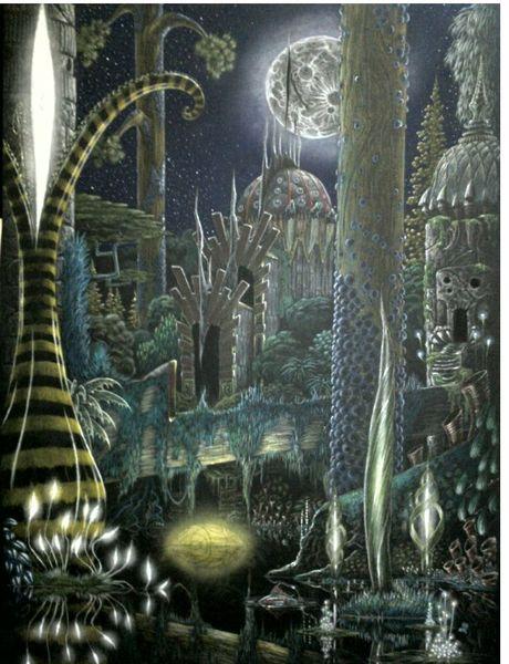 Außerirdisch, Urwald, Mondschein, Nacht, Zeichnungen, Stadt