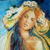 Blumen, Sinnlichkeit, Mädchen, Malerei