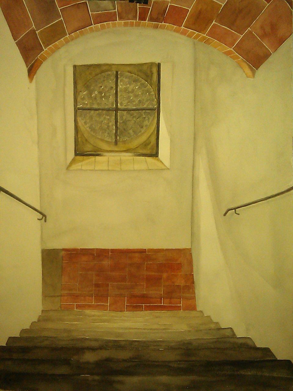 Bild malerei fenster hof von mareike bei kunstnet for Fenster zum hof