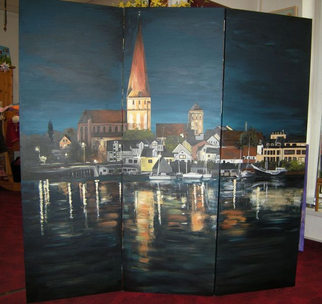 Nacht, Rostock, Nachtstimmung, Stadthafen, Hansestadt, Petrikirche
