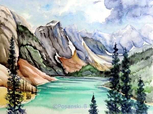 Landschaft, Kanadische, Aquarellmalerei, Kanada, Aquarell, Kalender 2015