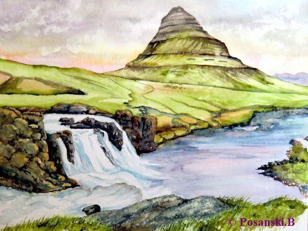 Wasserfall, Kirkjufell, Island, Berge, Aquarell, Landschaft