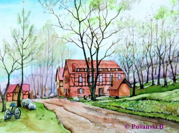 Mühle, Aquarell, Bad,