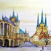 Dom, Stadt kirche, Erfurt, Aquarell