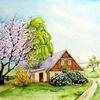Frühling, Haus, Baumblüte, Aquarell