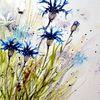 Blumen, Aquarell, Aquarelle blumen, Kornblumen
