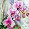 Pflanzen, Orchidee, Aquarell, Aquarelle blumen