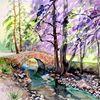 Aquarellmalerei, Schafsbrücke, Landschaft, Kohren