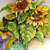 Blumenstrauß, Sonnenblumen, Blumen, Aquarell