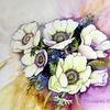 Blumen, Anemonen, Blüte, Aquarell