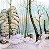 Winterlandschaft, Sächsische schweiz, Winter, Aquarell