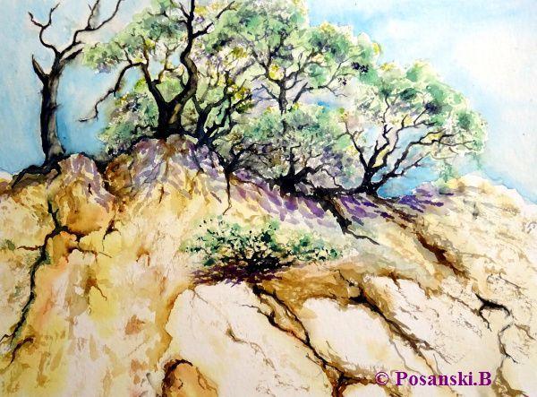 Küste, Landschaftsmalerei, Steilküste, Kroatien, Felsen, Aquarell